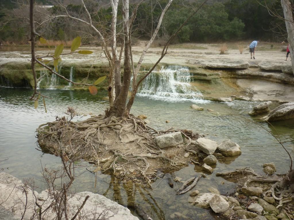 Island and waterfall